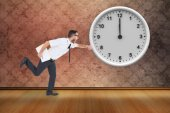 Geeky young businessman running late — Stock Photo