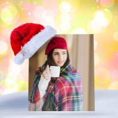 Brunette with cover holding mug and thinking — Stock Photo