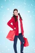Cheerful brunette in winter clothes — ストック写真