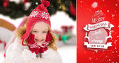 Festive little girl in hat and scarf — Stok fotoğraf