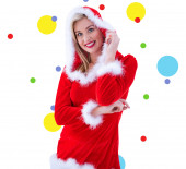 Festive blonde smiling — Foto Stock