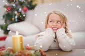 Little girl smiling at christmas — Stock Photo