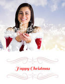 Pretty girl in santa outfit with hands out — Stock Photo