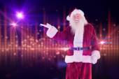 Santa shows something — Stock Photo