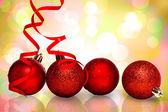 Four red christmas ball decoration — Stockfoto