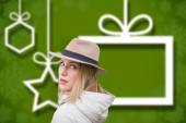 Composite image of pretty hipster blonde — Stock Photo