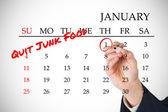 New years resolutions on january calendar — Stok fotoğraf