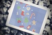 Gráficos de Navidad contra el pc de la tableta — Foto de Stock