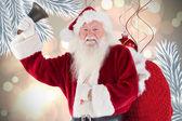 Happy santa ringing bell — Stok fotoğraf
