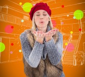 Blonde in winter clothes with hands out — Stock Photo