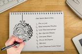 Mão escrevendo com caneta — Foto Stock
