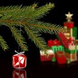 Composite image of red christmas decoration hanging from branch — Stock Photo #62482393