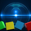 Composite image of 3d colourful cubes in a row — Stock Photo #62484725