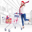 Blonde pushing trolley full of gifts — Stock Photo #62485279