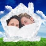 Couple hiding under the duvet — Stock Photo #62485627