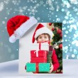 Cute festive little boy smiling at camera — Stock Photo #62485663