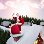 Santa on cottage roof — Stock Photo #62486437