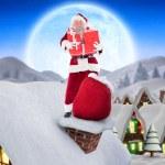 Santa on cottage roof — Stock Photo #62486951