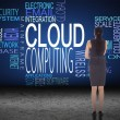 Businesswoman against cloud computing buzzwords — Stock Photo #62487321