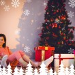 Mother and daughter waiting for santa claus — Stok fotoğraf #62488789
