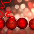 Four red christmas ball decoration — Stock Photo #62489257