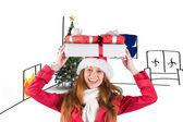 Pelirroja festiva celebración de pila de regalos — Foto de Stock