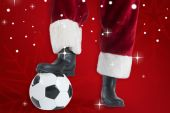 Santa Claus is playing soccer — Stock Photo