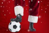 Santa Claus is playing soccer — Foto de Stock