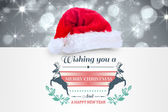 Composite image of colourful banner wishing a happy christmas — Stock Photo