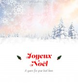 Joyeux noel against snowy landscape — Stock Photo
