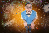 Geeky hipster looking confused at camera — Stock Photo
