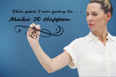 Serious businesswoman looking at pen — Stock Photo