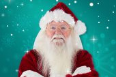 Santa smiles with folded arms — Stock Photo