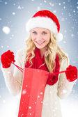 Blonde festivo con carrello — Foto Stock