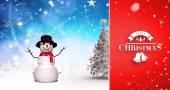 Christmas tree and snowman — Stock Photo