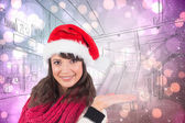 Festive young woman presenting with hand — Stock Photo