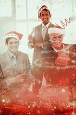 Confident businessmen wearing novelty christmas — Stock Photo