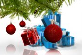 Composite image of decorations on tree — Stock Photo