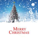 Christmas card against christmas tree — Foto de Stock
