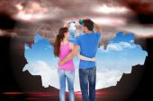 Couple both about to paint the sky — Stock Photo