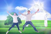Couple jumping and holding hands — Stock Photo