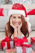 Festive redhead smiling — Stock Photo