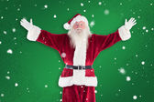 Jolly Santa opens his arms — Stock Photo