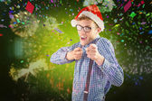 Geeky hipster wearing santa hat — Stock Photo
