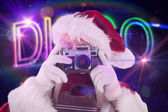 Santa is taking picture — Stock Photo