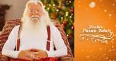 Smiling santa without his jacket relaxing — Stock Photo