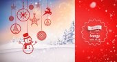 Hanging red christmas decorations — Foto de Stock