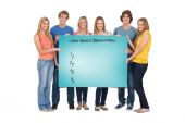 Group of people holding blank sheet — Stock Photo