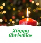 Happy christmas against christmas candle — Stock Photo