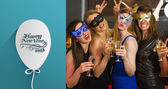 Women wearing masks holding champagne — Stock Photo